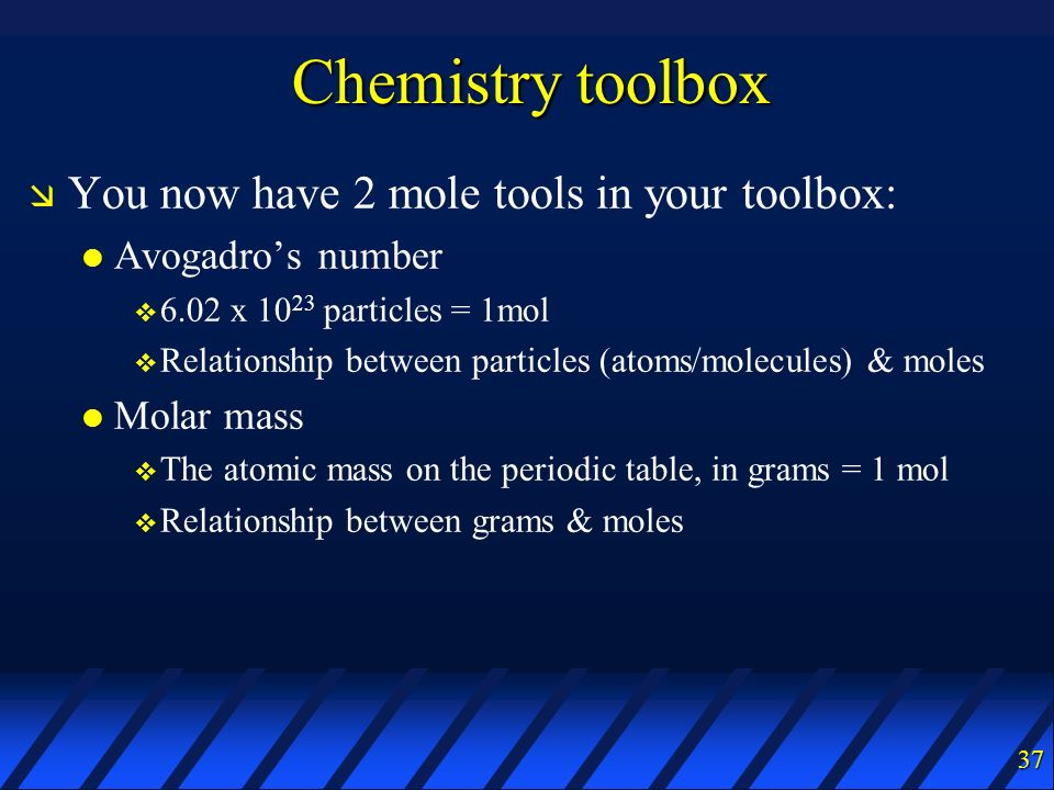 Chemistry toolbox You now have 2 mole tools in your toolbox: