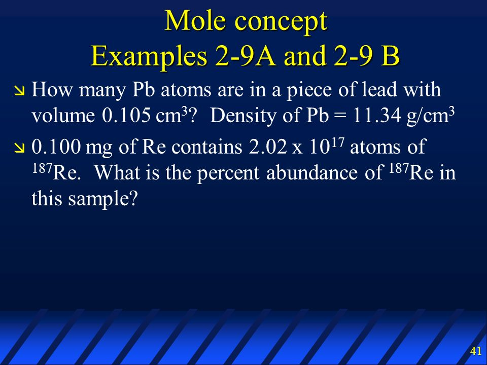 Mole concept Examples 2-9A and 2-9 B