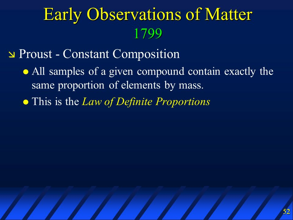 Early Observations of Matter 1799