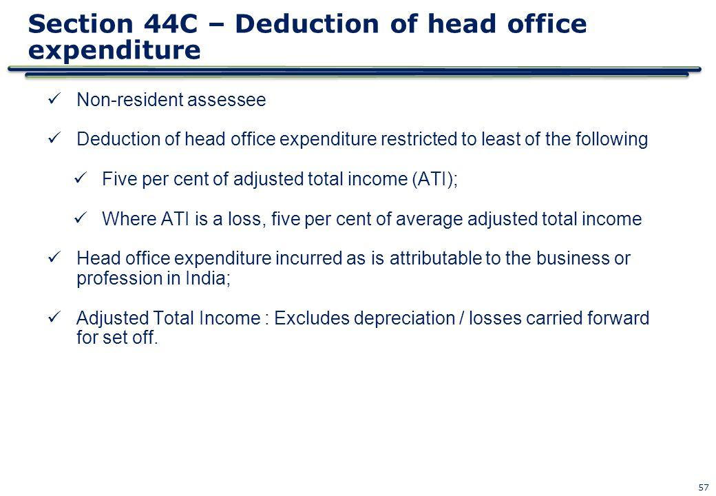 Section 44C – Deduction of head office expenditure
