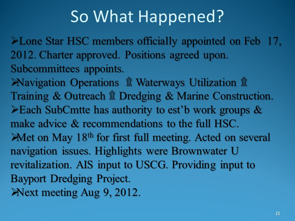 So What Happened Lone Star HSC members officially appointed on Feb 17, 2012. Charter approved. Positions agreed upon. Subcommittees appoints.