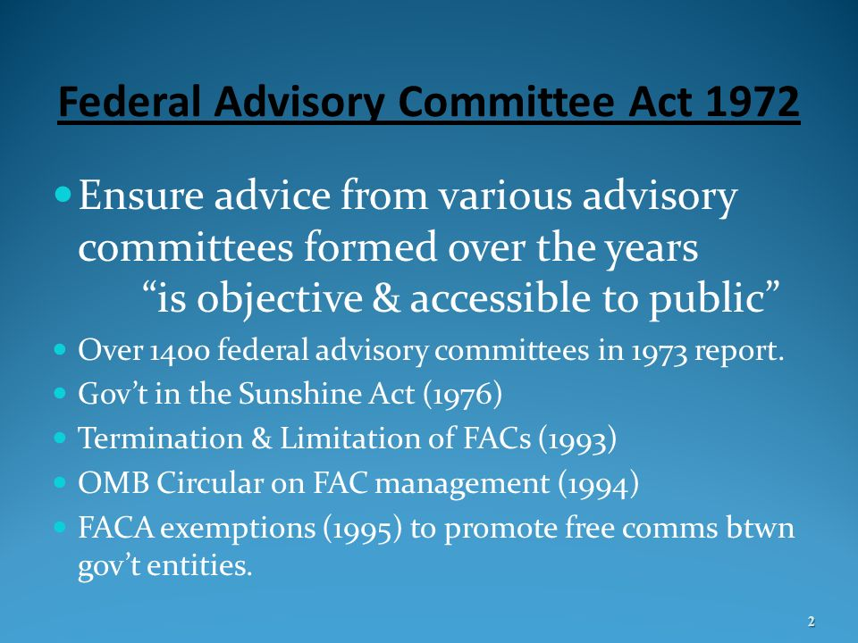 Federal Advisory Committee Act 1972