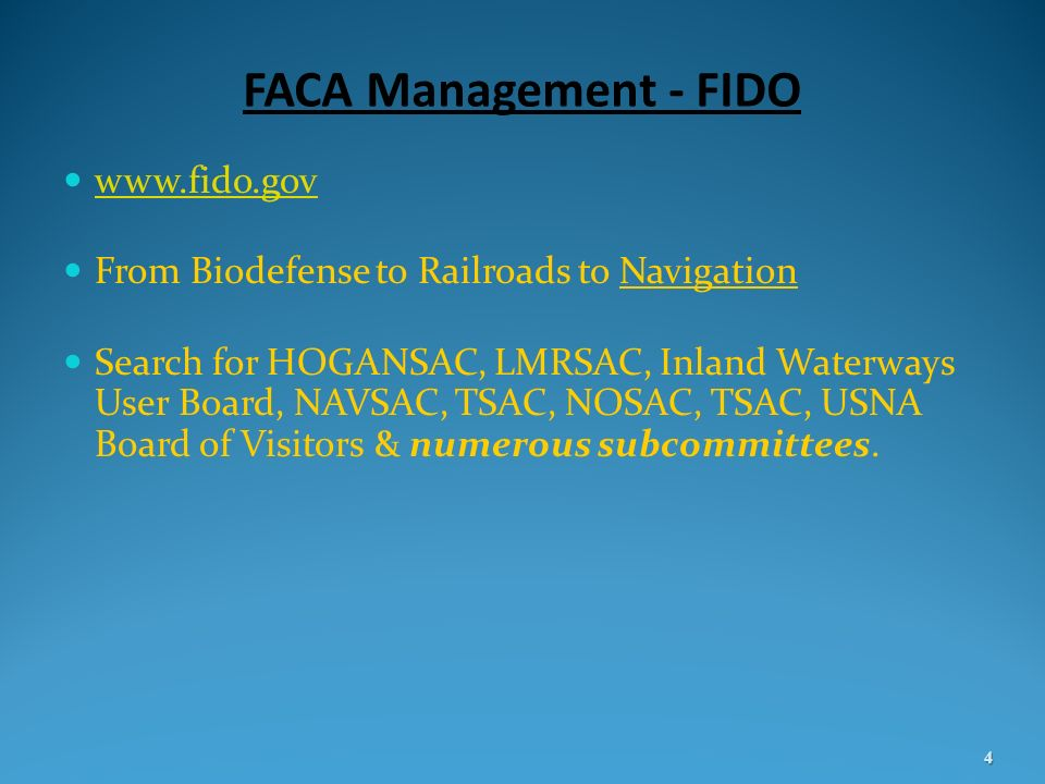 FACA Management - FIDO www.fido.gov