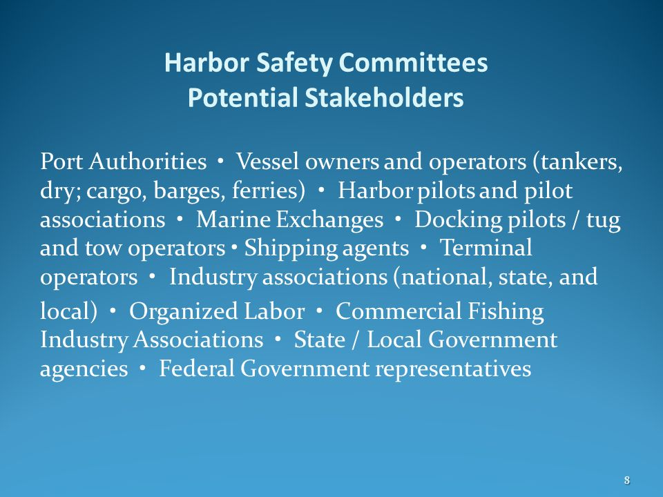 Harbor Safety Committees Potential Stakeholders