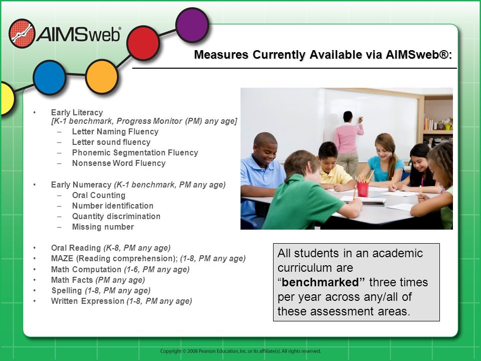 Measures Currently Available via AIMSweb®: