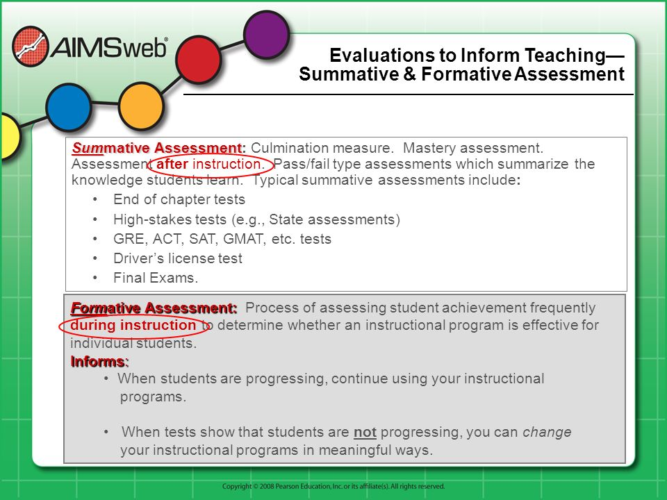 Evaluations to Inform Teaching— Summative & Formative Assessment