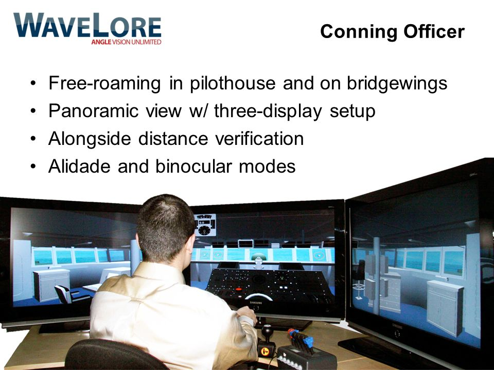 Conning Officer Free-roaming in pilothouse and on bridgewings. Panoramic view w/ three-display setup.