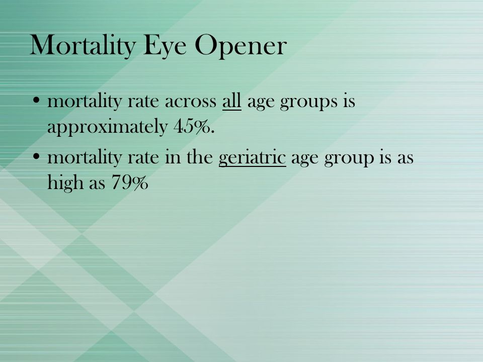 Mortality Eye Openermortality rate across all age groups is approximately 45%.