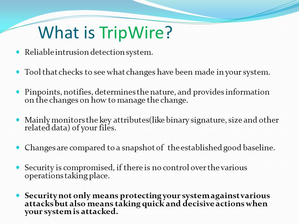 What is TripWire Reliable intrusion detection system.