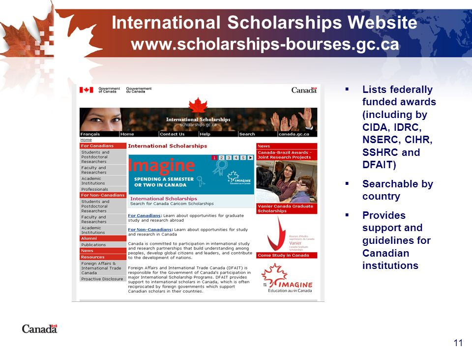 International Scholarships Website www.scholarships-bourses.gc.ca