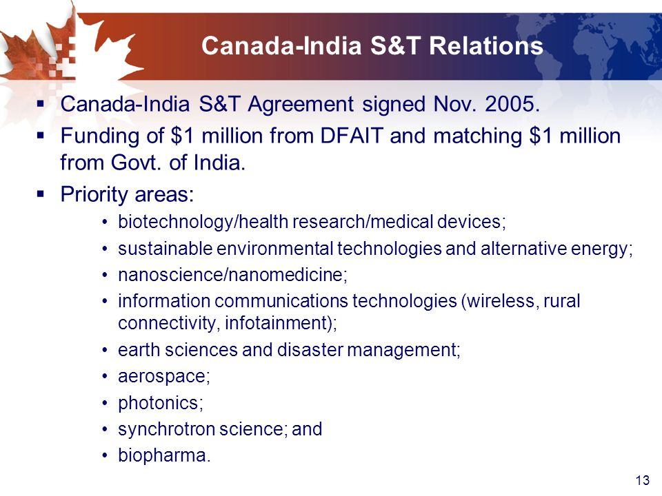 Canada-India S&T Relations