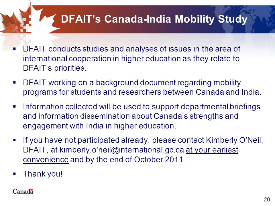 DFAIT's Canada-India Mobility Study