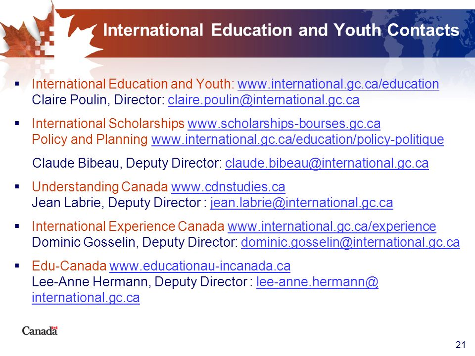 International Education and Youth Contacts
