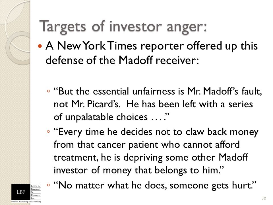 Targets of investor anger: