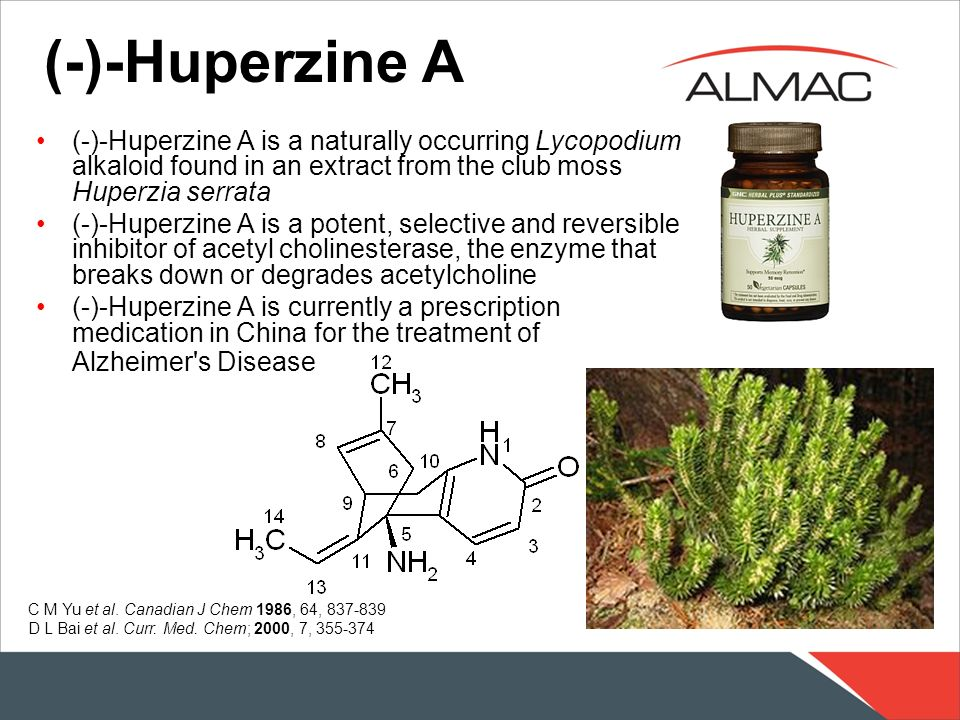 (-)-Huperzine A (-)-Huperzine A is a naturally occurring Lycopodium alkaloid found in an extract from the club moss Huperzia serrata.