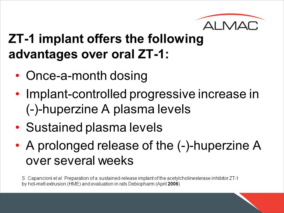 ZT-1 implant offers the following advantages over oral ZT-1: