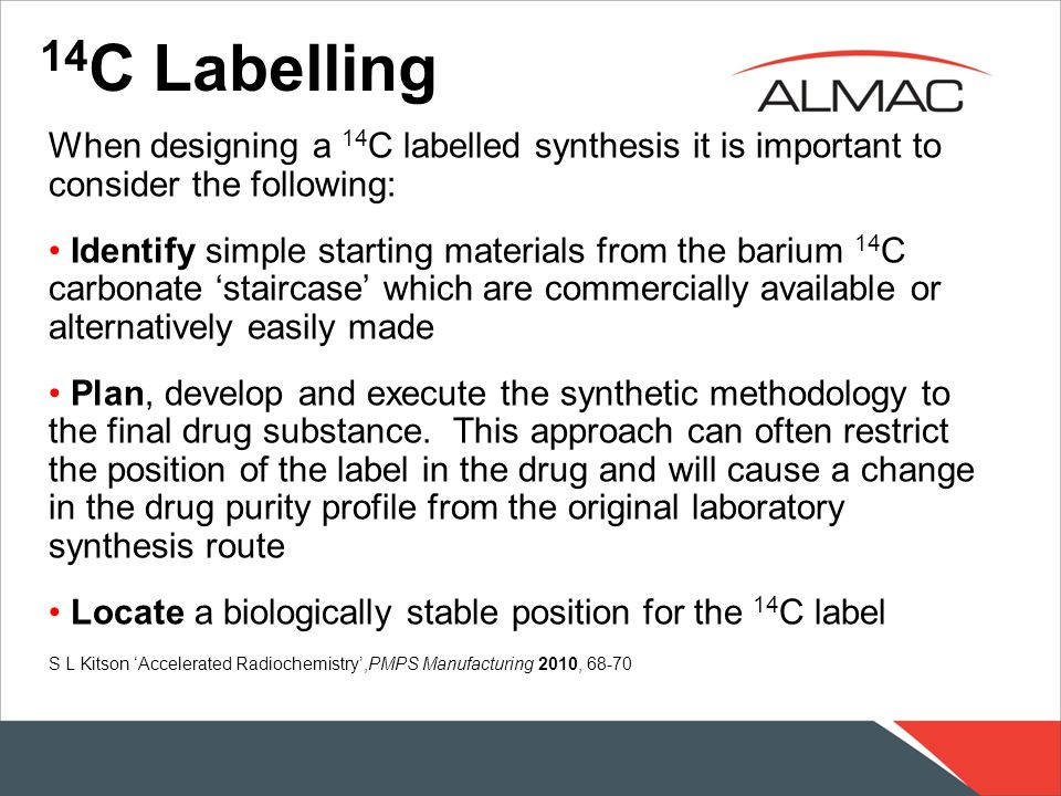 14C LabellingWhen designing a 14C labelled synthesis it is important to consider the following: