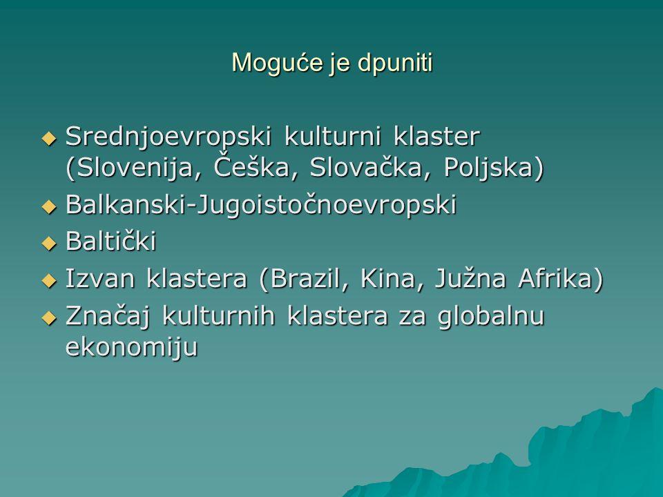 Moguće je dpuniti Srednjoevropski kulturni klaster (Slovenija, Češka, Slovačka, Poljska) Balkanski-Jugoistočnoevropski.