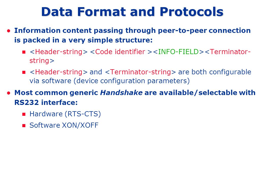 Data Format and Protocols