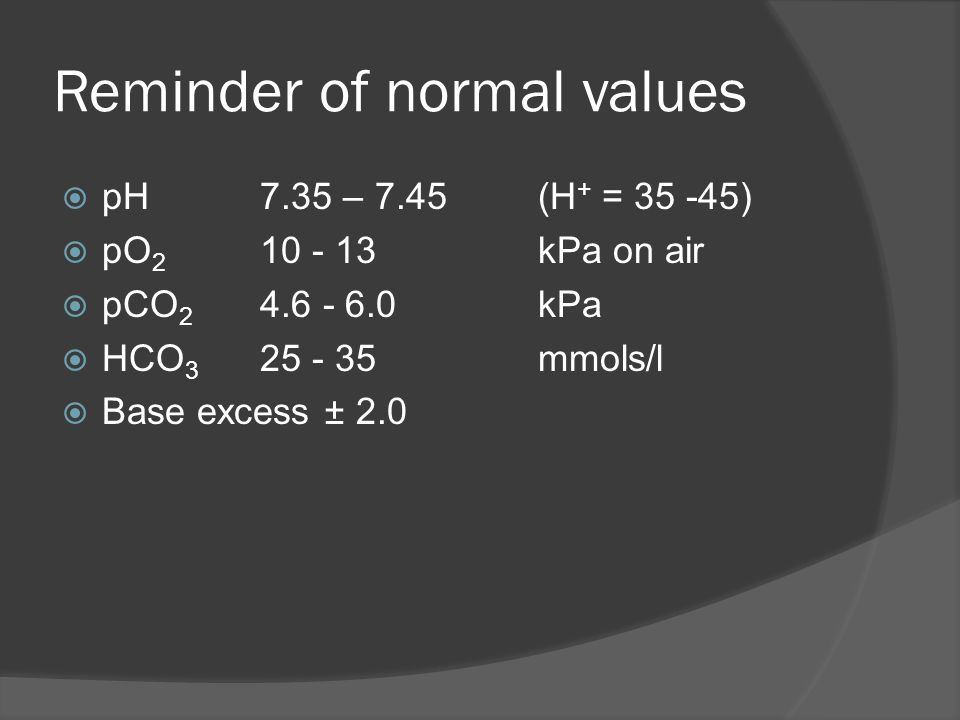 Reminder of normal values