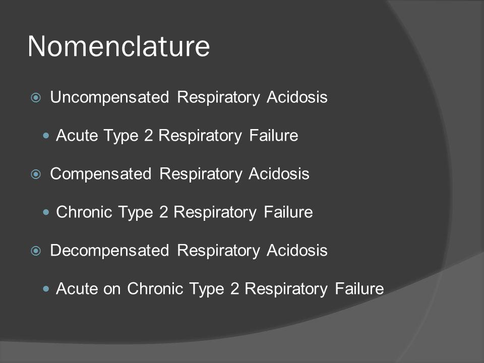 Nomenclature Uncompensated Respiratory Acidosis