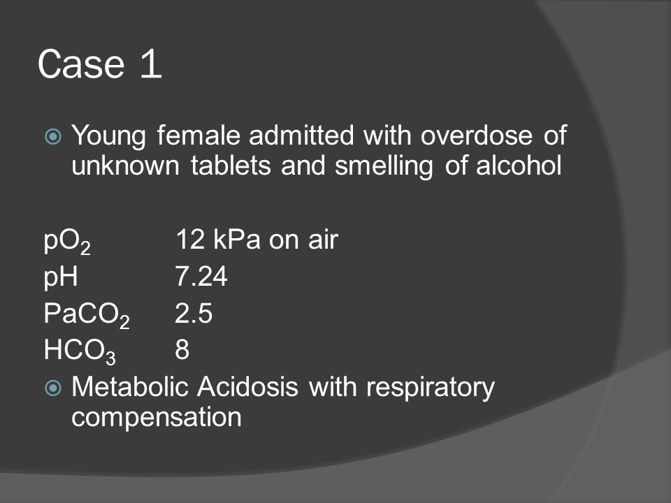 Case 1 Young female admitted with overdose of unknown tablets and smelling of alcohol. pO2 12 kPa on air.