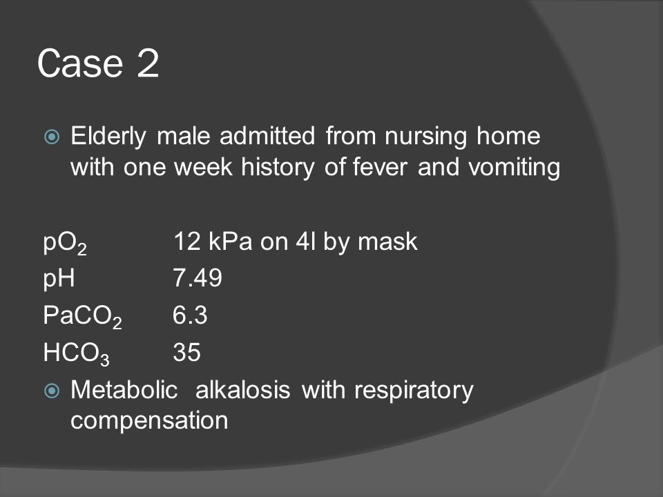 Case 2 Elderly male admitted from nursing home with one week history of fever and vomiting. pO2 12 kPa on 4l by mask.