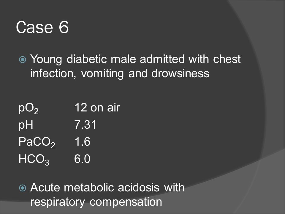 Case 6 Young diabetic male admitted with chest infection, vomiting and drowsiness. pO2 12 on air.