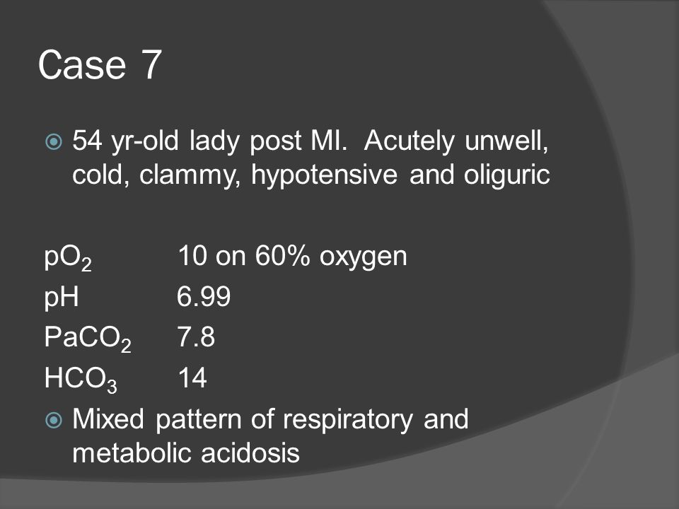 Case 7 54 yr-old lady post MI. Acutely unwell, cold, clammy, hypotensive and oliguric. pO2 10 on 60% oxygen.
