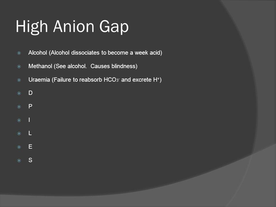 High Anion Gap Alcohol (Alcohol dissociates to become a week acid)