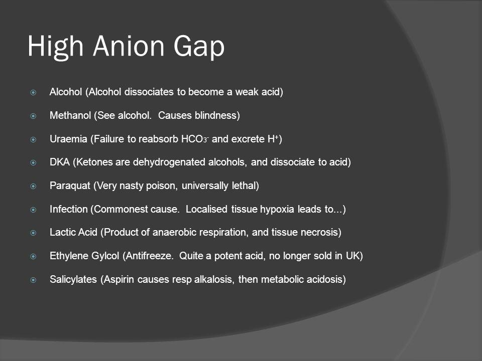 High Anion Gap Alcohol (Alcohol dissociates to become a weak acid)