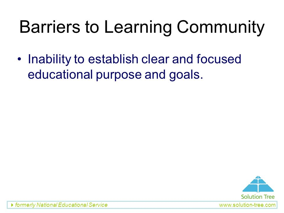 Barriers to Learning Community