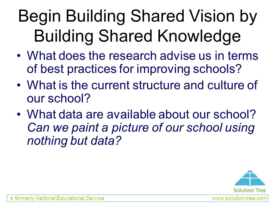 Begin Building Shared Vision by Building Shared Knowledge
