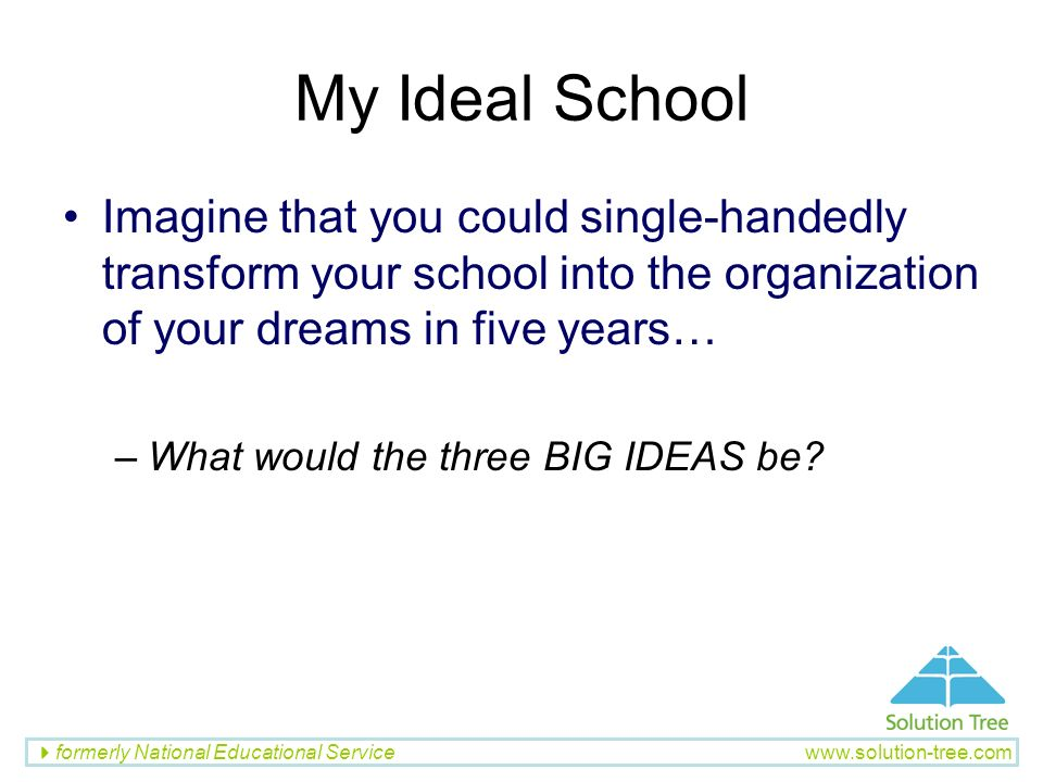 My Ideal School Imagine that you could single-handedly transform your school into the organization of your dreams in five years…