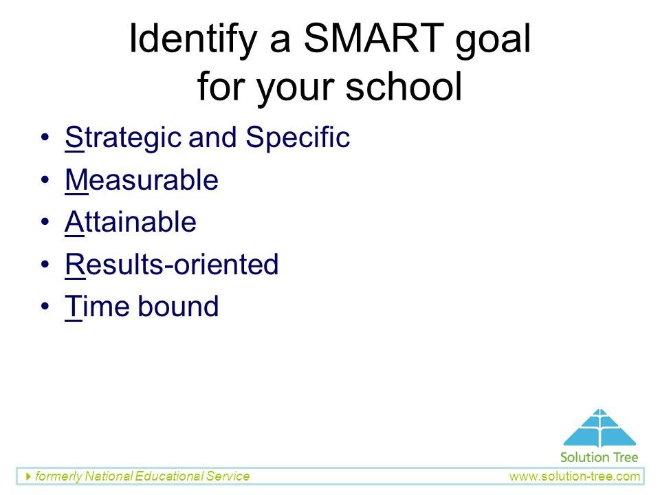 Identify a SMART goal for your school