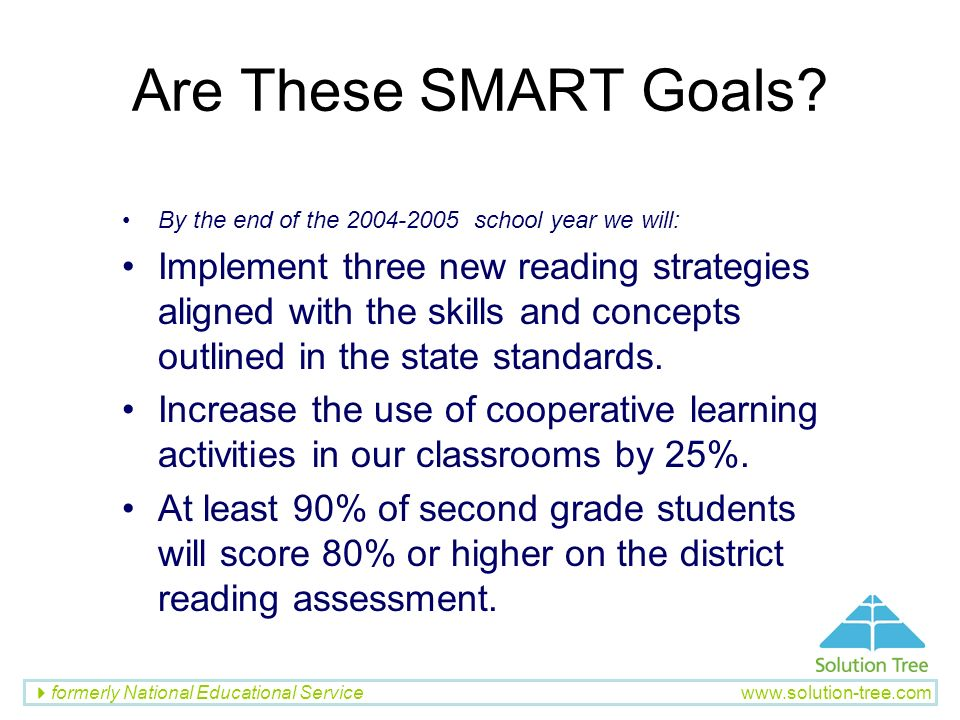 Are These SMART Goals By the end of the school year we will: