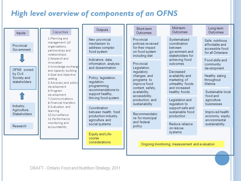 DRAFT - Ontario Food and Nutrition Strategy, 2011