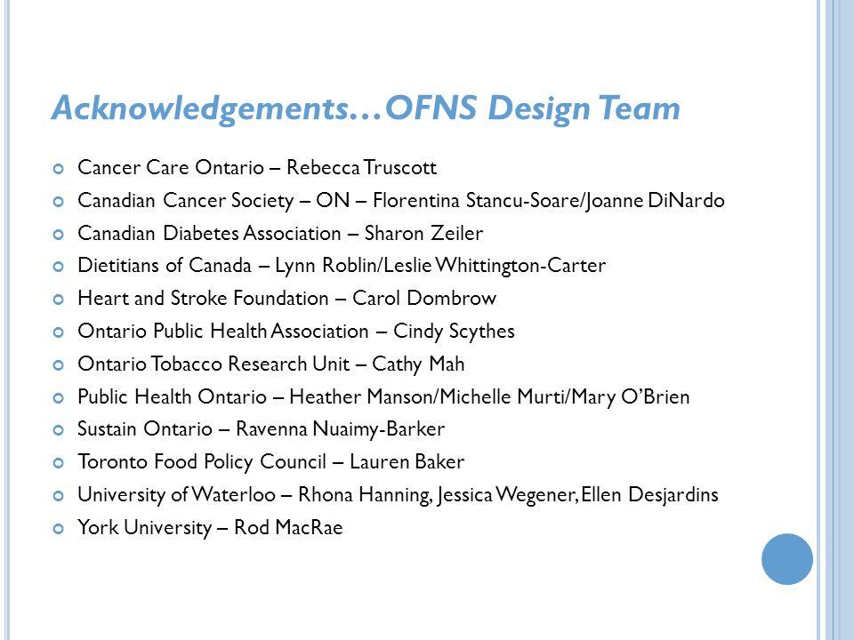 Acknowledgements…OFNS Design Team