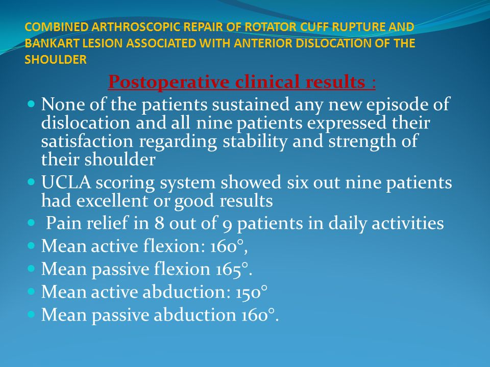 Postoperative clinical results :