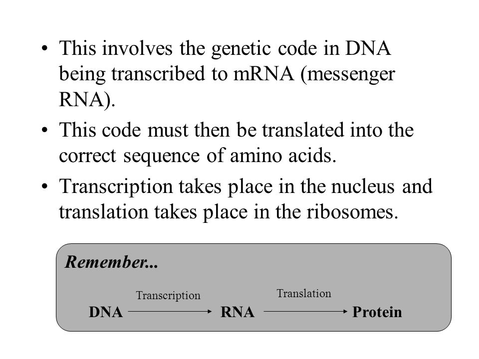 This involves the genetic code in DNA being transcribed to mRNA (messenger RNA).