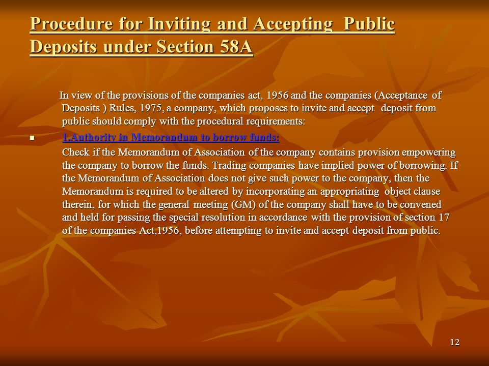 Procedure for Inviting and Accepting Public Deposits under Section 58A