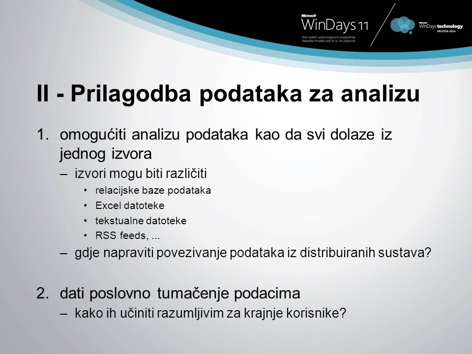 II - Prilagodba podataka za analizu
