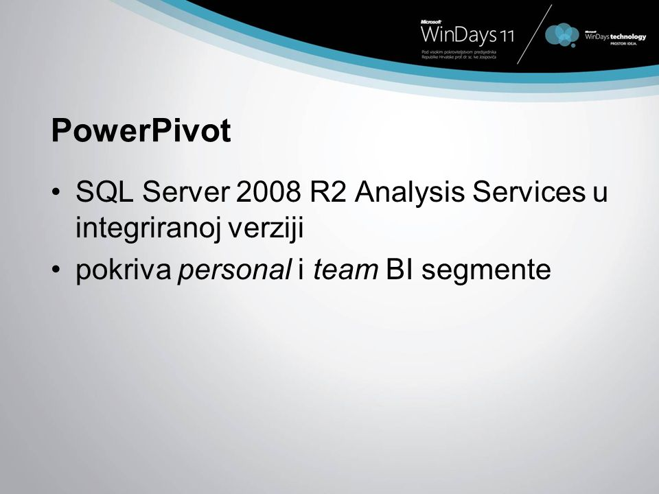 PowerPivot SQL Server 2008 R2 Analysis Services u integriranoj verziji