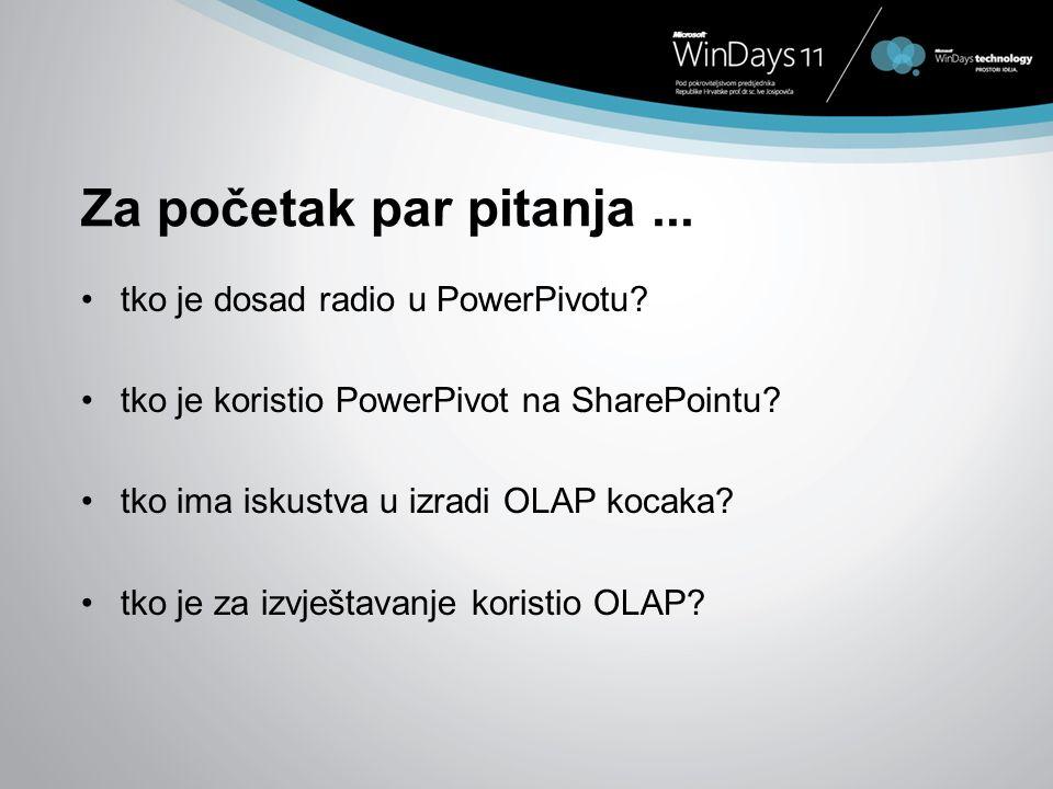 Za početak par pitanja ... tko je dosad radio u PowerPivotu