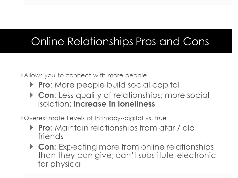pros and cons of internet dating essay Butterflies, romance, proposal, marriage, children: these are words that many people associate with dating this type of courtship, common in north america and in other cultures around the world, allows those involved to assess the suitability of another as a partner in the long term although.