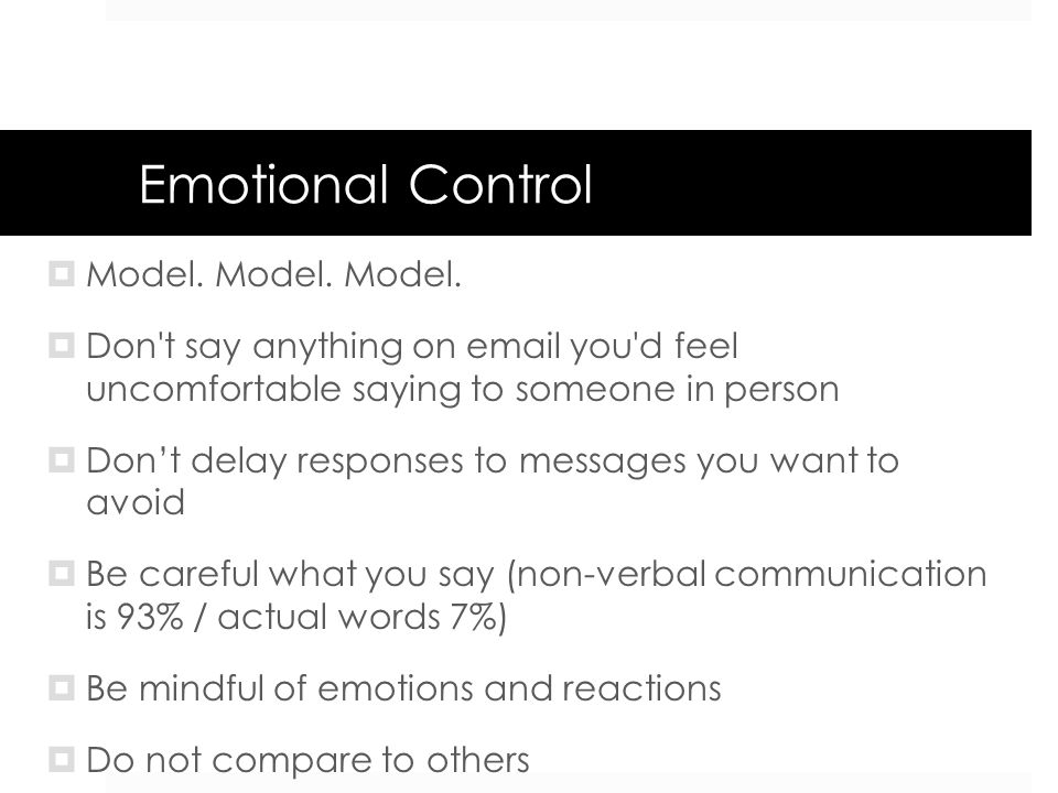Emotional Control Model. Model. Model.