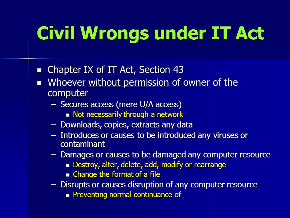 Civil Wrongs under IT Act
