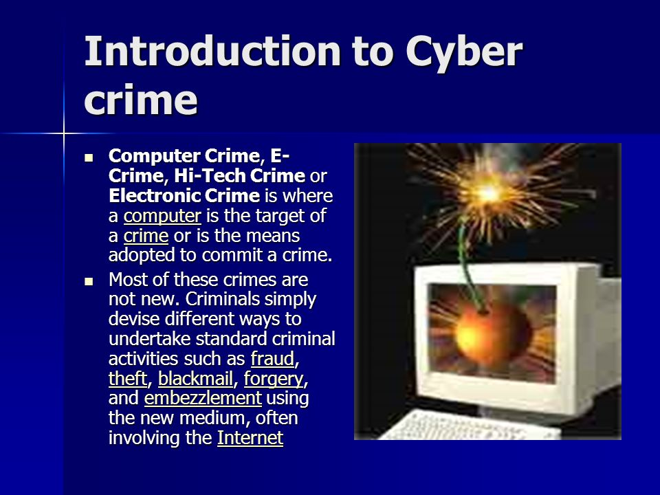 electronic crime Cyber crime is any criminal act dealing with computers and networks  additionally, cyber crime also includes traditional crimes conducted through the  internet.