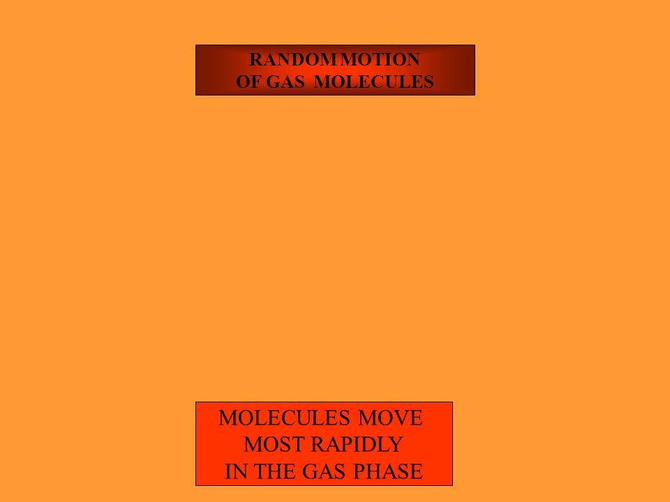 MOLECULES MOVE MOST RAPIDLY IN THE GAS PHASE RANDOM MOTION