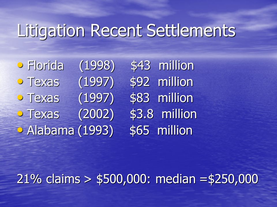 Litigation Recent Settlements